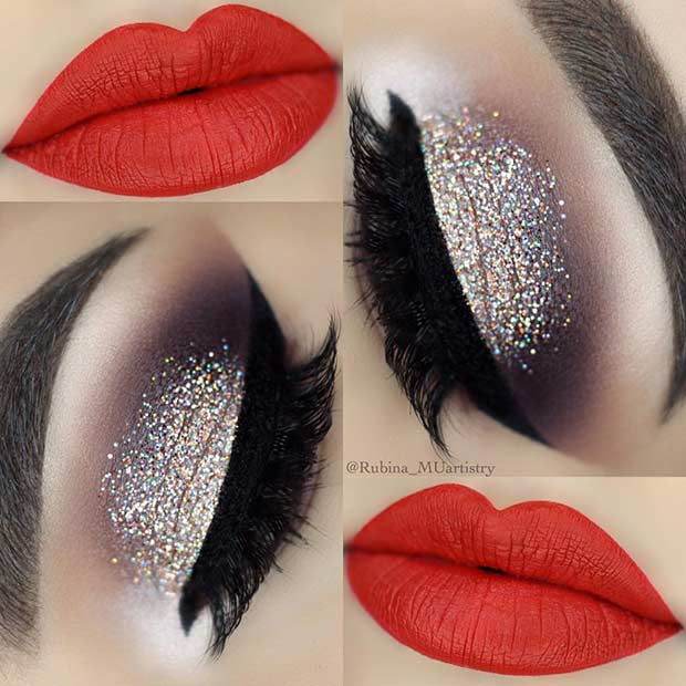Glittery Eyes and Vivid Red Lips