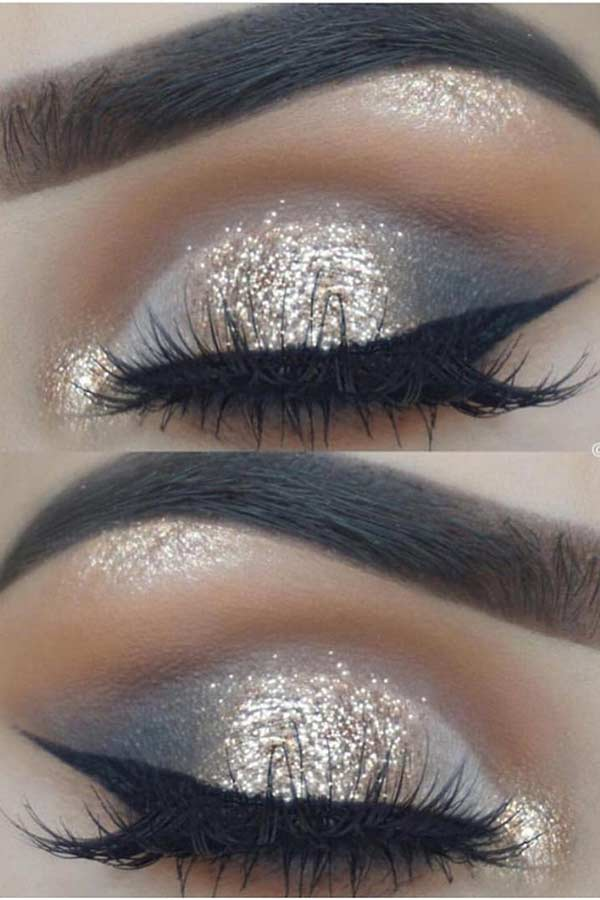 Gold Glitter and Smokey Eyes