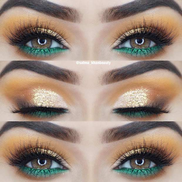 Gold and Green Eye Makeup Idea