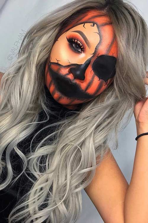 Halloween Pumpkin Makeup for Women