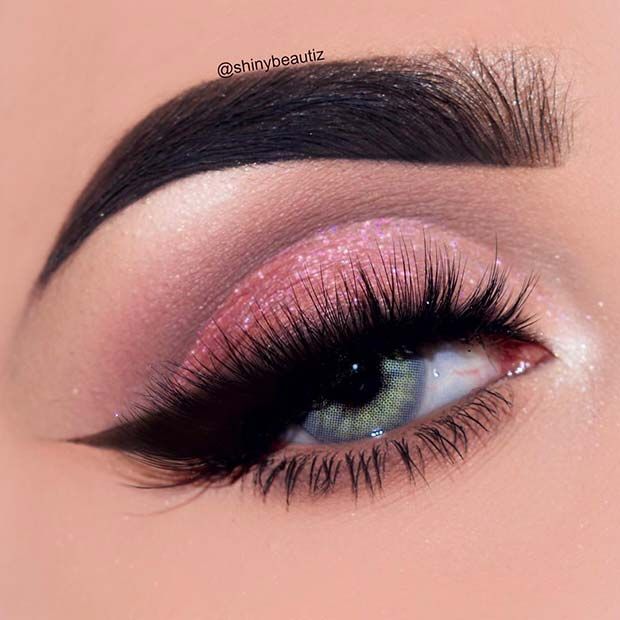 Sparkly Pink Eyes with Bold Lashes
