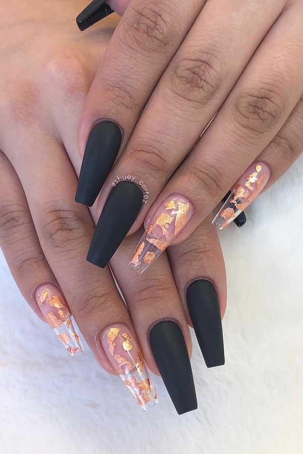Black Matte Coffin Nails with Gold Foil