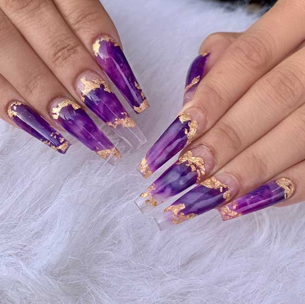 Gold and Purple Coffin Nails