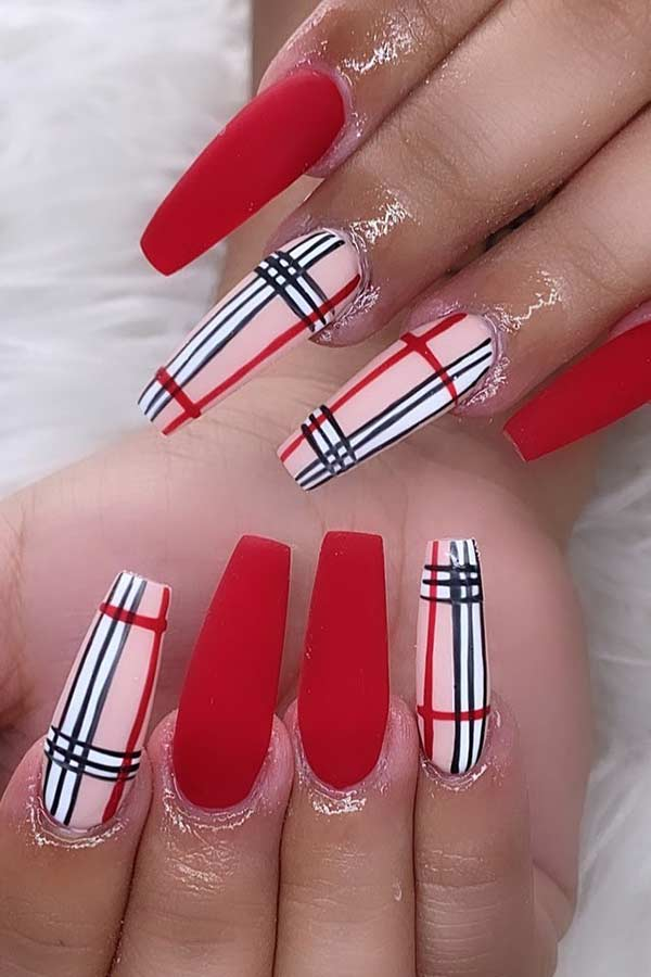 Matte Red and Plaid Nails
