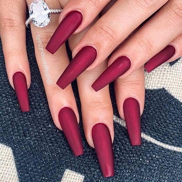 Metallic Dark Red Coffin Nails