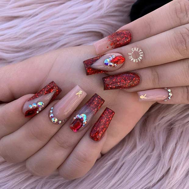 Nude and Red Glitter Nail Design