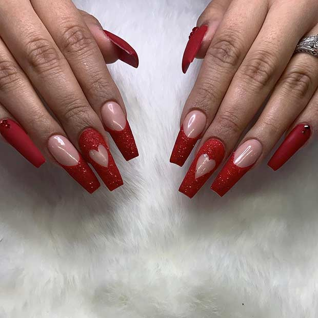 Red Glitter Coffin Nails with Hearts