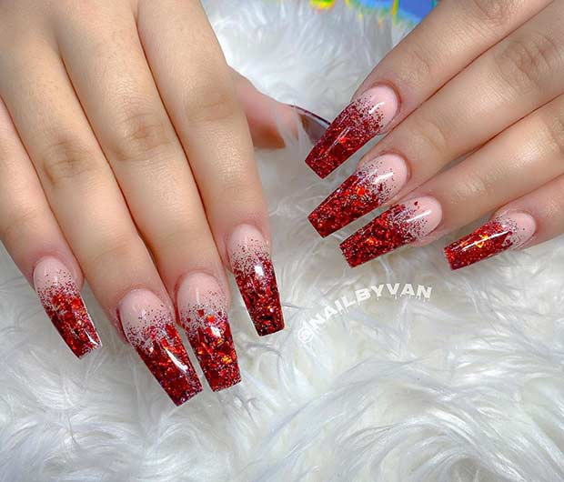 Red Glitter Ombre Nail Design