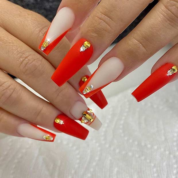 Red Matte Nails with Gold Rhinestones