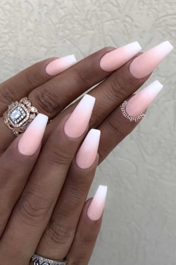 Matte Light Pink and White Nails