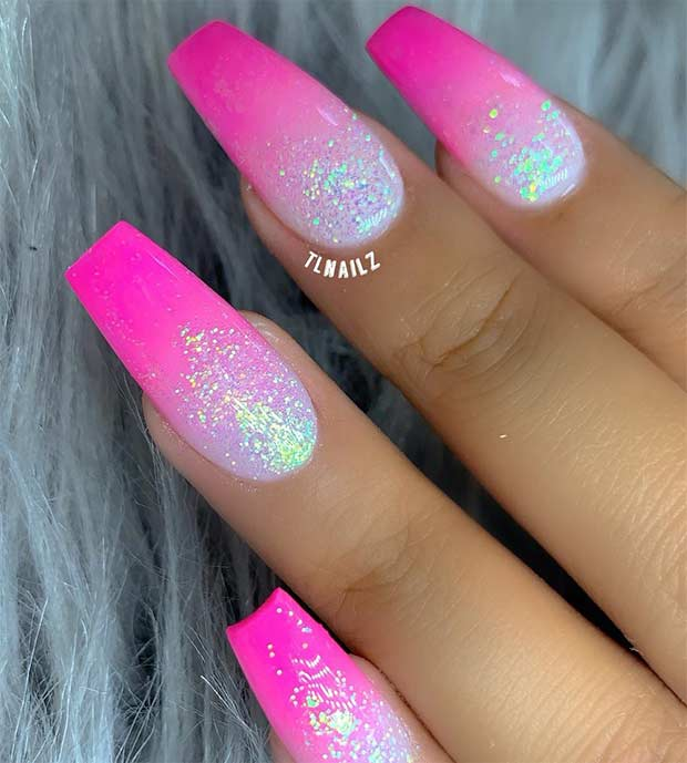 Neon Pink Nails with Glitter