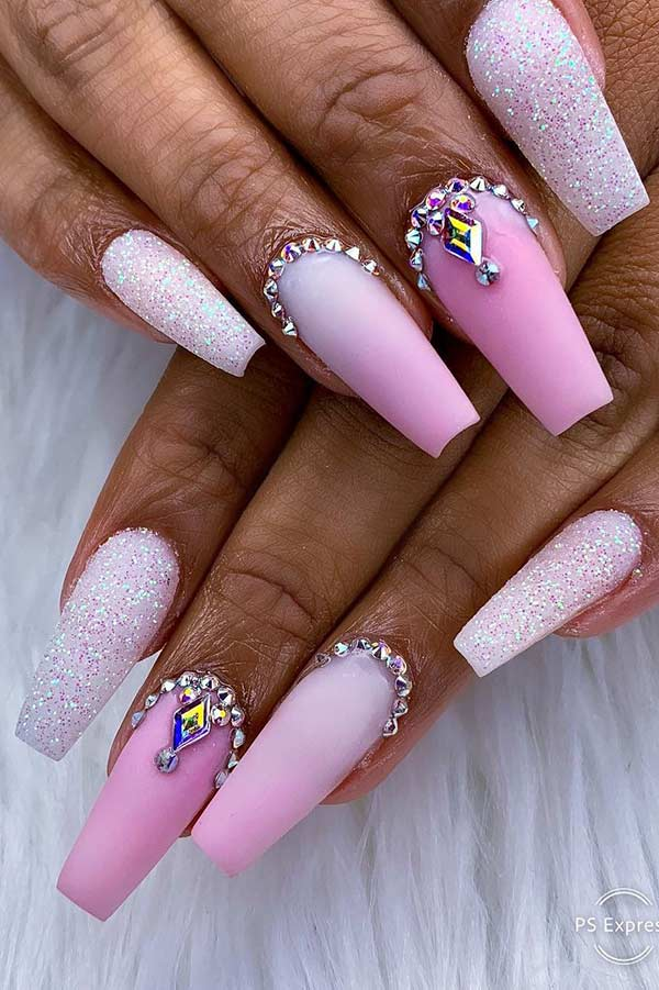 Pink and White Glitter Coffin Nails
