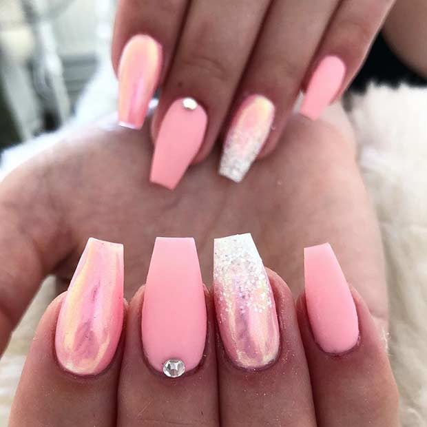 Pretty Light Pink Coffin Nails