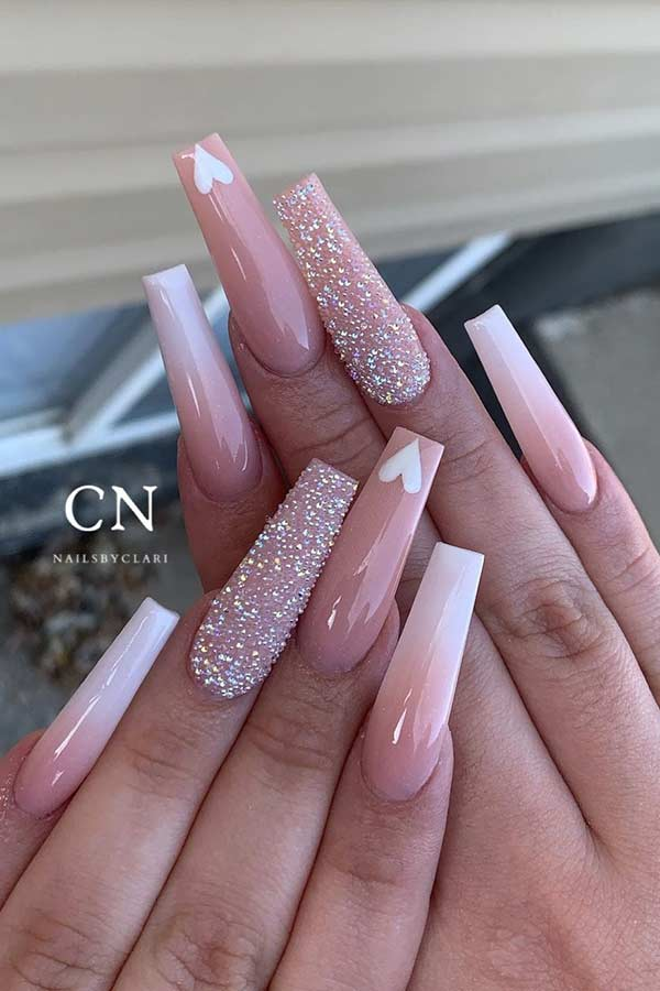 Long Nude Ombre Nails