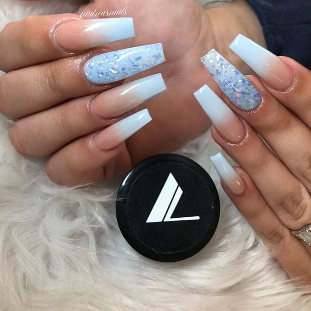 Nude and Light Blue Ombre Nails