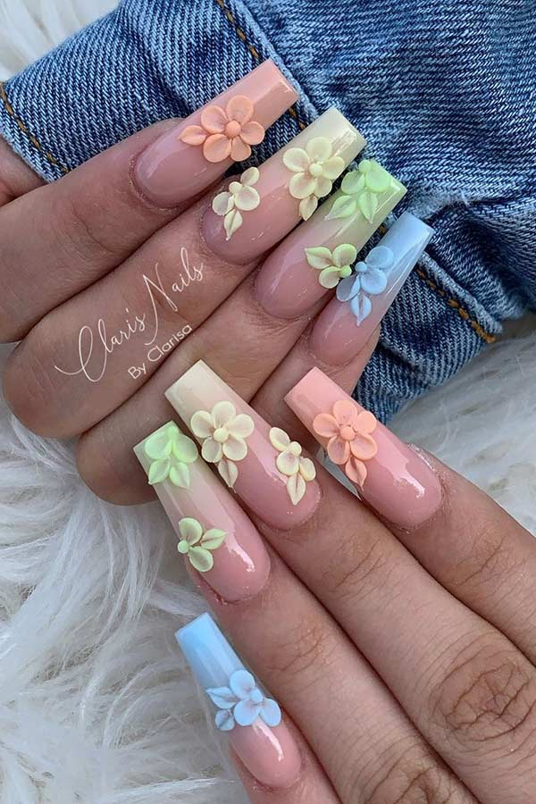 Nude and Pastel Ombre Nails with Flowers