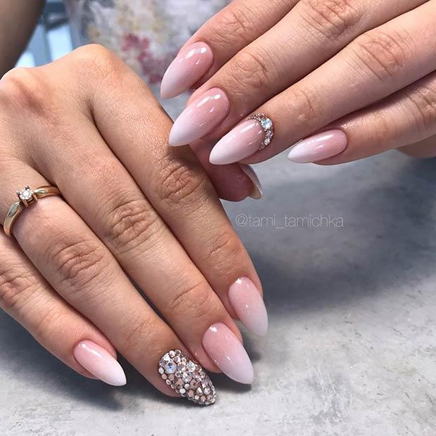 Ombre Stiletto Wedding Nails