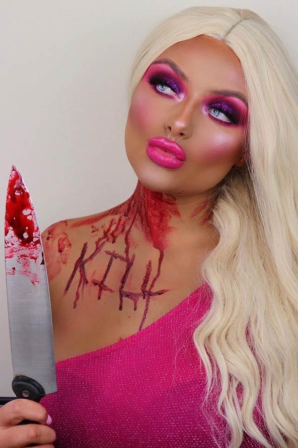 Scary Barbie Halloween Makeup